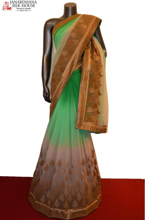 Party Wear Designer Embroidery Silk Georgette Saree