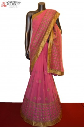 Party Wear Designer Embroidery Silk Chiffon Saree