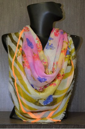 "Exclusive Printed  Wool & Pure Silk Scarf- L:51"" W:51"""