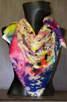 """Exclusive Printed Pure Silk Scarf- L:43"""" W:41"""""""