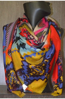 """Exclusive Printed  Wool & Pure Silk Scarf- L:60"""" W:57"""""""