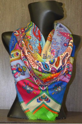 "Exclusive Printed  Wool & Pure Silk Scarf- L:60"" W:57"""