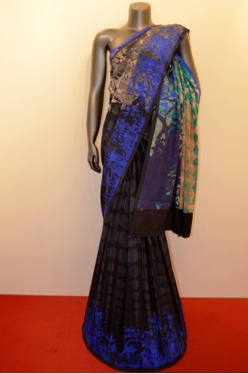 Abstract Designer Pure Crepe Silk Saree