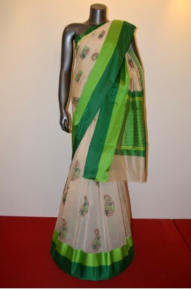 Exclusive Embroidery Pure Party Wear Cotton Saree