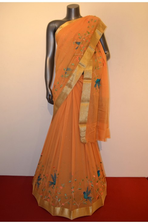 Designer & Exclusive Embroidery Pure Silk Chiffon