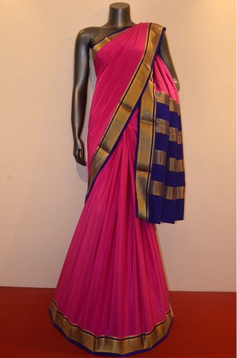 Traditional Classic Contrast Heavy Pure Mysore Crepe Silk Saree