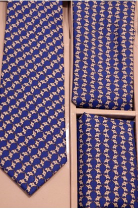 Exclusive Printed Pure Silk Tie, Pocket Square & Cravat Set