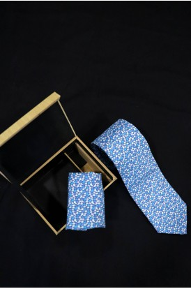 Exclusive Printed Pure Silk Tie & Pocket Square