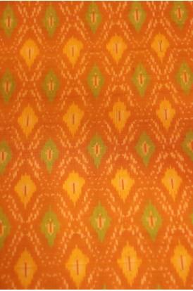 Classic Pure Silk Cotton Ikat Silk Fabric- Width-44-Inches