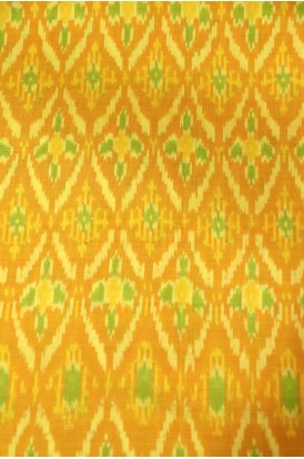 Classic Pure Silk Cotton Ikat Silk Fabric- Width-44-Inches