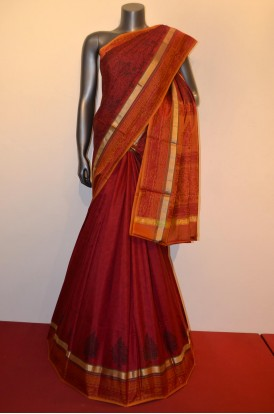Classic & Exclusive Zari Contrast Pure Printed Silk Saree