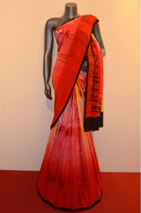 Abstract Disgner Pure Crepe Silk Saree