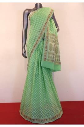 Classic Handloom Thread Weave Banarasi Cotton Saree