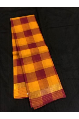 Classic MultiColor Checks  Handloom  Pure Cotton Saree