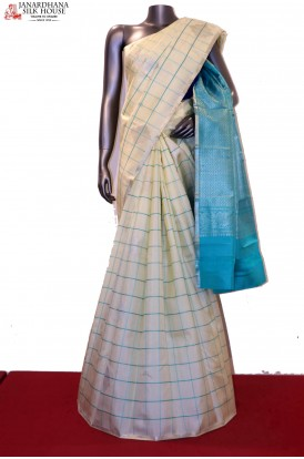 Exclusive  Checks & Designer Motif Wedding Kanjeevaram Silk Saree