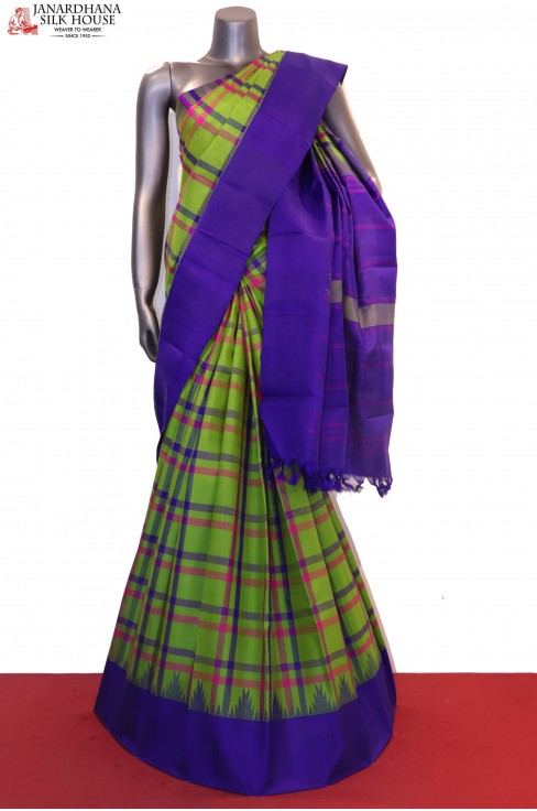 Traditional Checks & Temple Handloom Kanjeevaram Silk Saree