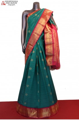 Traditional Peacock & Chakram Wedding Kanjeevaram Silk Saree
