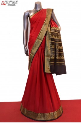 Classic Contrast & Traditional Pure Mysore Crepe Silk Saree