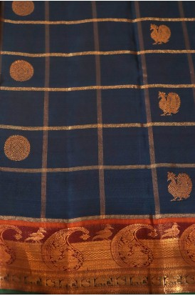 Zari Checks & Classic Zari Butta  Kanjeevaram Silk Fabric