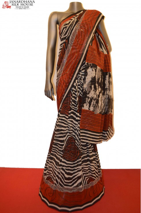 Designer Party Wear Abstract Embroidery Silk Saree
