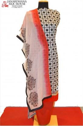 Party Wear Stylish Printed Cotton Suits With Chiffon Dupatta