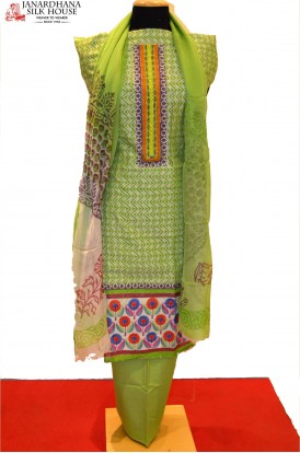 Green ladies Cotton Suit with Colorful Border