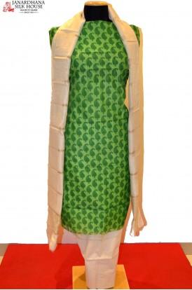 Desiger Green Pure Cotton Suit With Plain Dupatta