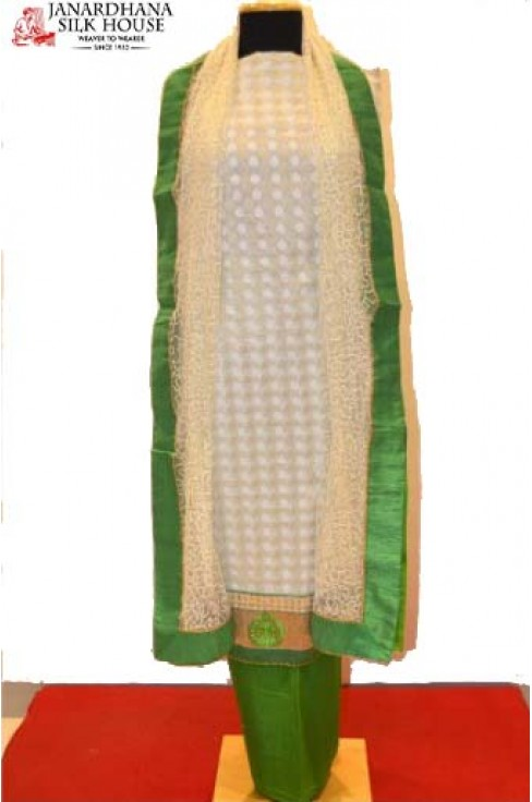 Green And White Embroidered Pure Cotton Suit