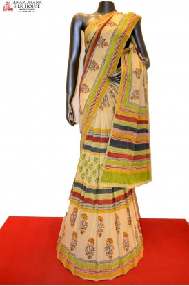Fancy Pure Off-White Printed Crepe Casual Saree