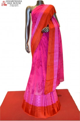 Pink Pure Georgette Silk With Designer Satin Border