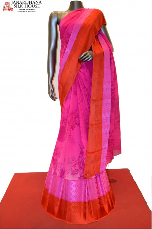 Pink Pure Georgette Silk With ..