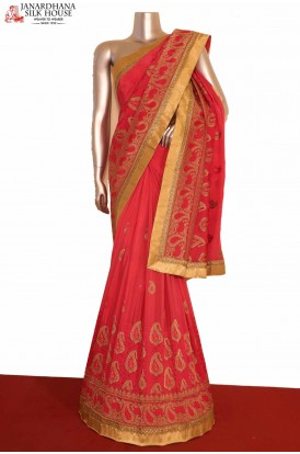 Designer Grand Embroidery Crepe Silk Saree