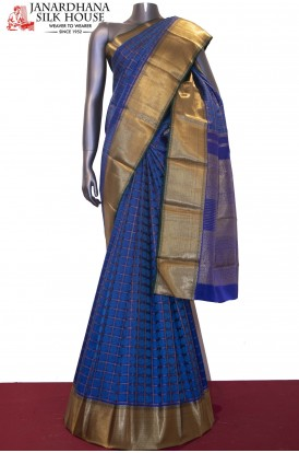 Peacock Chakram & Zari Checks Bridal Blue Kanjeevaram Silk Saree