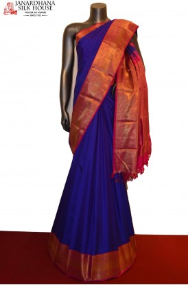 AC202370-Bridal Blue Wedding Kanjeevaram Silk Saree