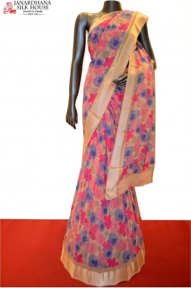 AC203990-Exclusive Floral Pure Georgette Silk Saree