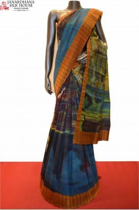 Digital Print Party Wear Pure Tussar Silk Saree
