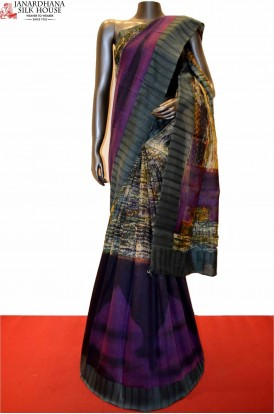 Party Wear Special Digital Print Pure Tussar Silk Saree