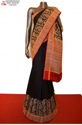 Exclsuive Black Thread Weave Handloom Banarasi Silk Saree