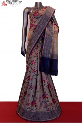 Exclusive Floral Weave Handloom Pure Tussar Silk Saree