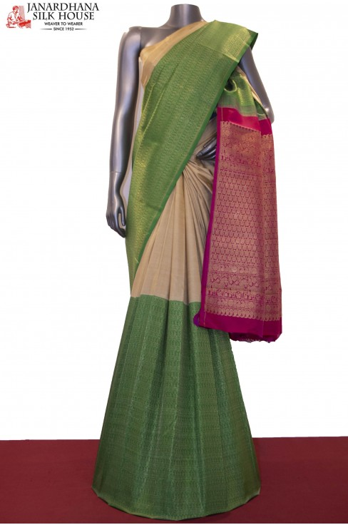 Exquisite Half & Half Grand Wedding Kanjeevaram Silk Saree