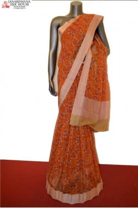 Floral Pure Silk Chiffon Saree With Fancy Weaving Border
