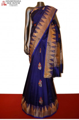 AD201113-Exclusive Banarasi Silk Saree With Temple Border