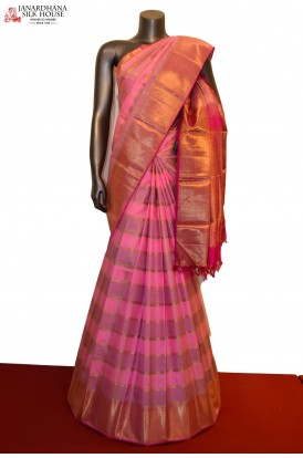Exquisite Zari Checks Bridal Handloom Kanjeevaram Silk Saree