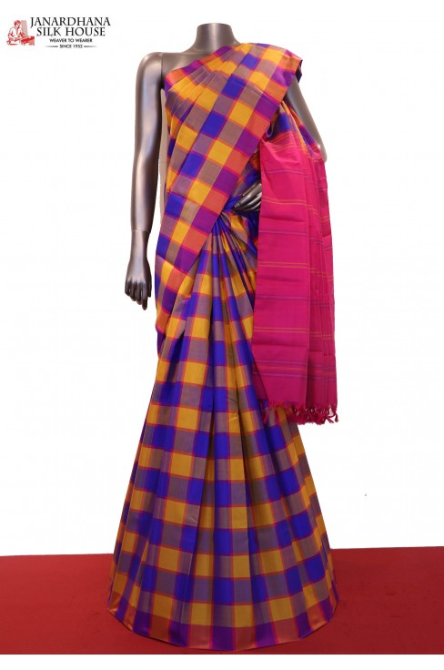 Colorful Checks Handloom Kanjeevaram Silk Saree