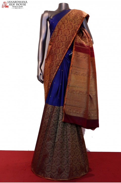 Designer & Exquisite Wedding Half & Half Kanjeevaram Silk Saree