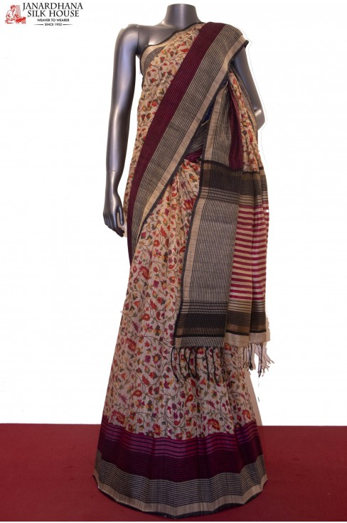 Soft Handloom Tussar & Exclusive Prints Pure Tussar Silk Saree