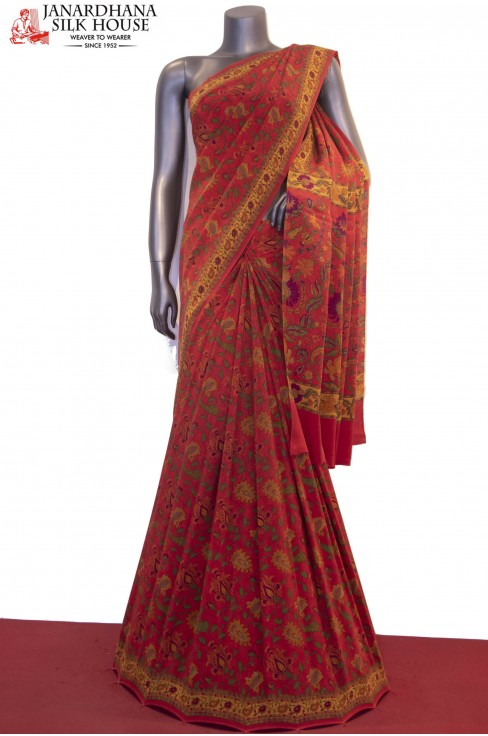 Exclusive & Finest Quality Floral Prints Pure Crepe Silk Saree