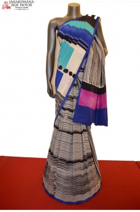 Abstract Patli Designer Pure Crepe Silk Saree