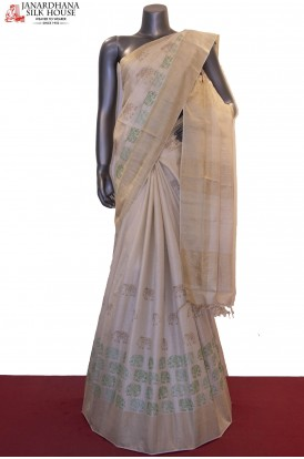 Exclusive Embroidery Tussar Silk Saree