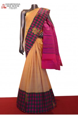 Exclusive Checks & Peacock Motif Kanjeevaram Silk Saree